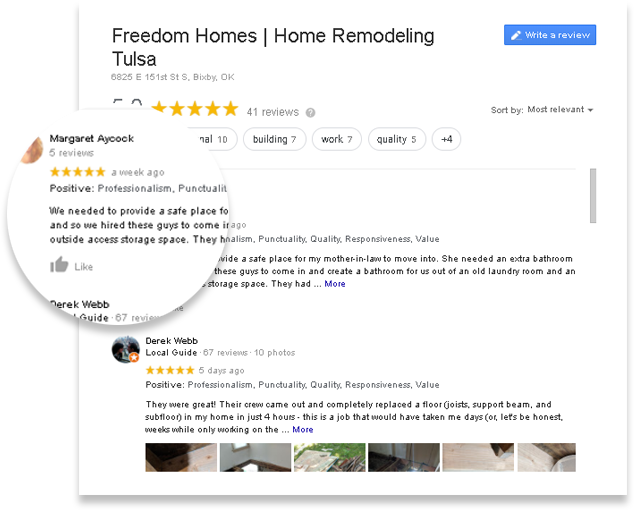 Tulsa Home Remodeling Google Reviews Image Freedom Homes OK